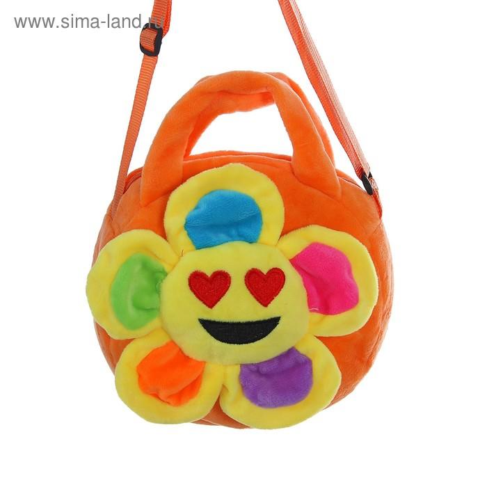 """Мягкая сумочка """"Цветочек"""" сердечки, оранжевая основа"""