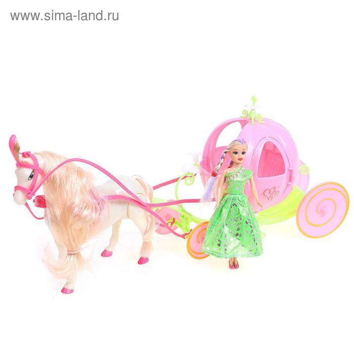 Лошадка ходит с каретой + кукла, звук, на бат, цвета МИКС в пакете