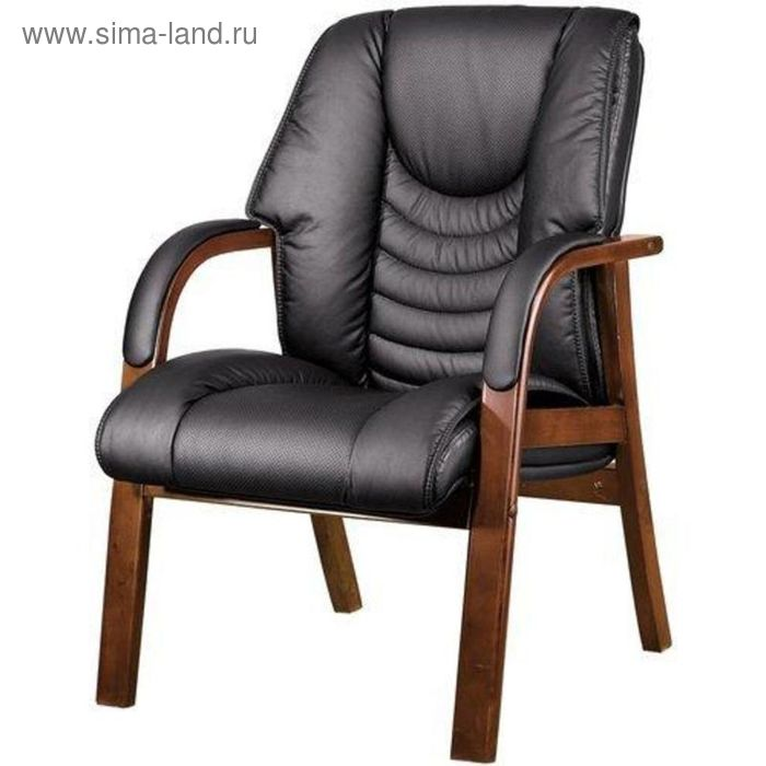 Конференц-кресло EChair-409 KL черное (кожа, каркас палисандр)