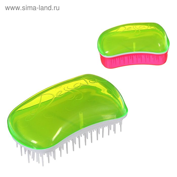 Щётка для распутывания волос с ароматом кокоса, цвет лайм/фуксия