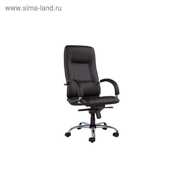 Кресло руководителя Star Steel Chrome PU01 черный, ЭкоКожа