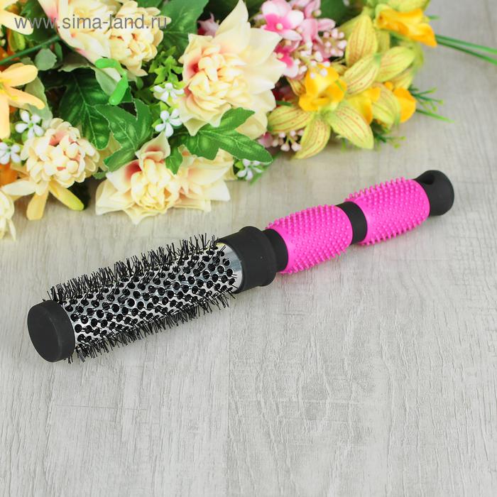 Брашинг с прорезиненной ручкой, d=4см, цвет чёрно-розовый