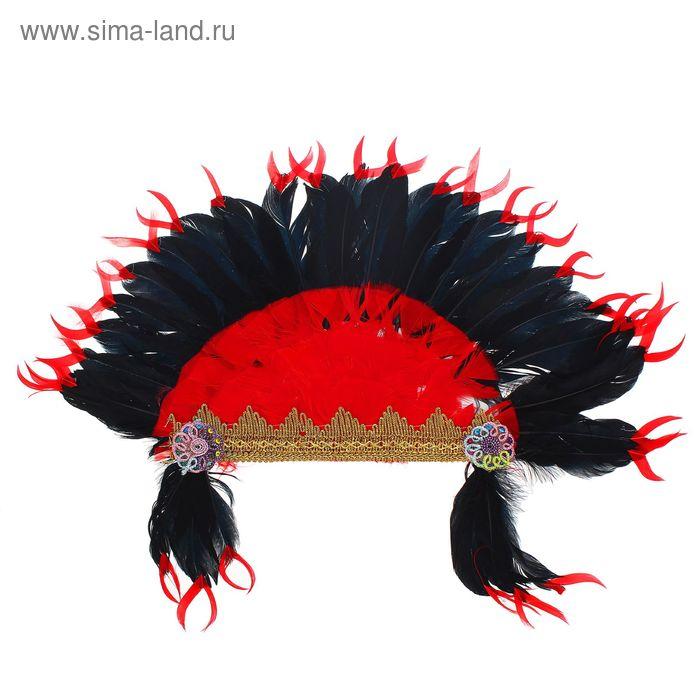 """Карнавальный головной убор """"Индеец"""" красно-черное перо"""