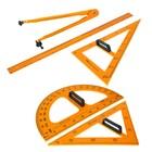 Набор для школьной доски 5 предметов (2треугольника,1транспортир,1циркуль,1линейка)