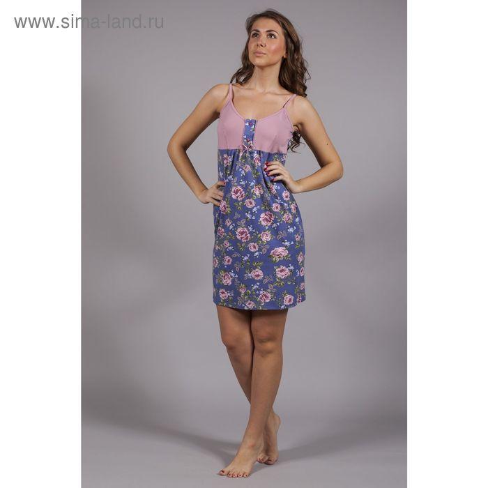 Сорочка с застёжкой, цвет синий/розовый, принт розы, рост 164, размер 50