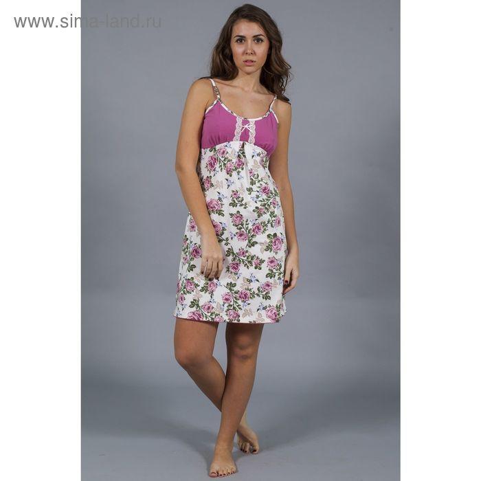 Сорочка женская Уютный дом №15 6.923, розы на экрю, рост 164 см, р-р 56 (112)