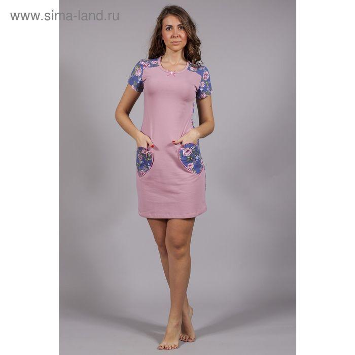 Сорочка женская Уютный дом №3 6.507, розы на синем, рост 164 см, р-р 50 (100)