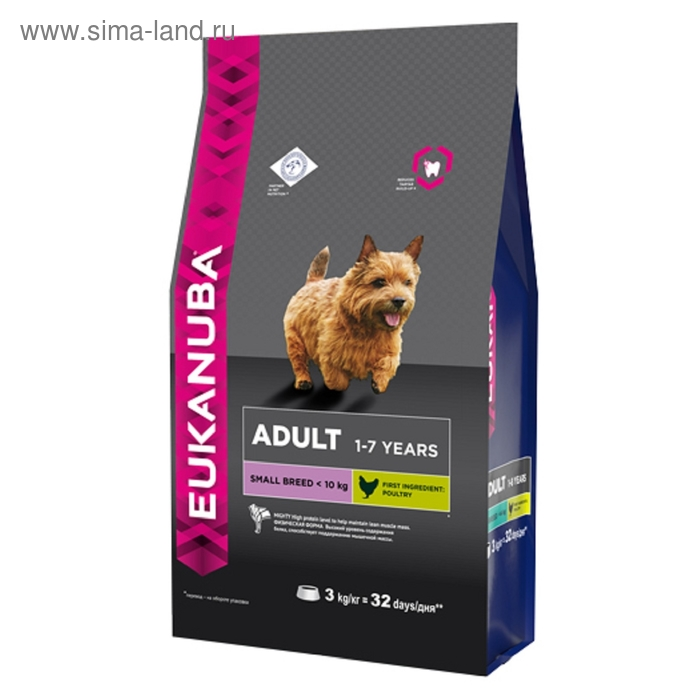Сухой корм EUK Dog для взрослых собак мелких пород, 3 кг