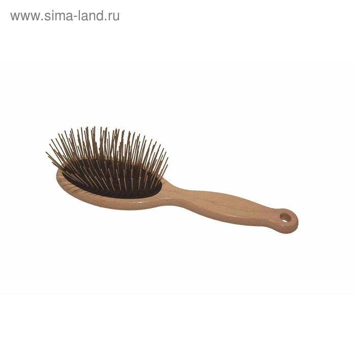 Щетка 1 All Systems Pin brush массажная, большая, для густой шерсти, зубцы 35 мм, черная
