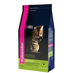 """Сухой корм EUK Cat """"Хэйр болл"""" для домашних кошек, для вывода шерсти из желудка, с домашней птицей,"""