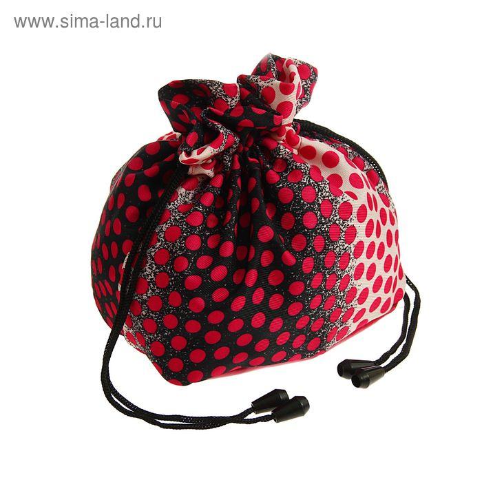"""Косметичка-сумочка на стяжке шнурком """"Горох"""", 1 отдел, цвет малиновый"""