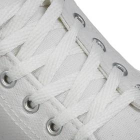 Шнурки для обуви плоские, ширина 7мм, 120см, цвет белый Ош