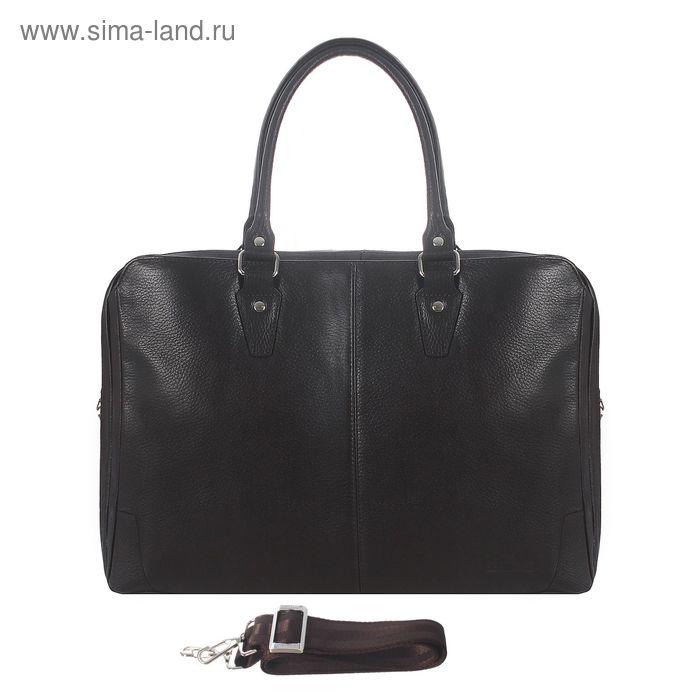Портфель мужской на молнии, 2 отдела, 1 наружный карман, регулируемый ремень, коричневый флотер