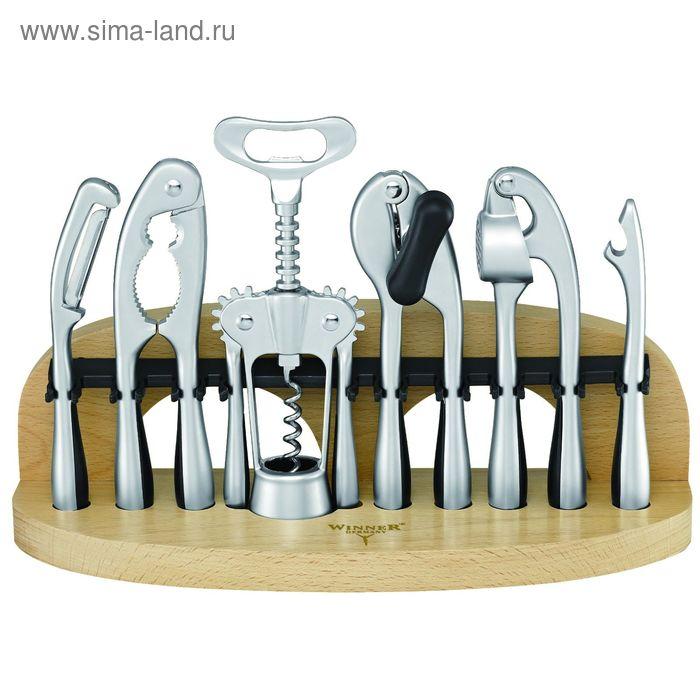 Набор 7 пр: консервный нож, пресс для чеснока, штопор, щипцы для орехов, картофелечистка, открывалка