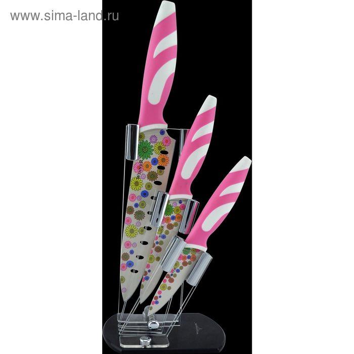 Набор ножей, 4 пр: поварской 34 см, д/нарезки 33 см, универсальный 24 см, д/очистки 20 см, подставка