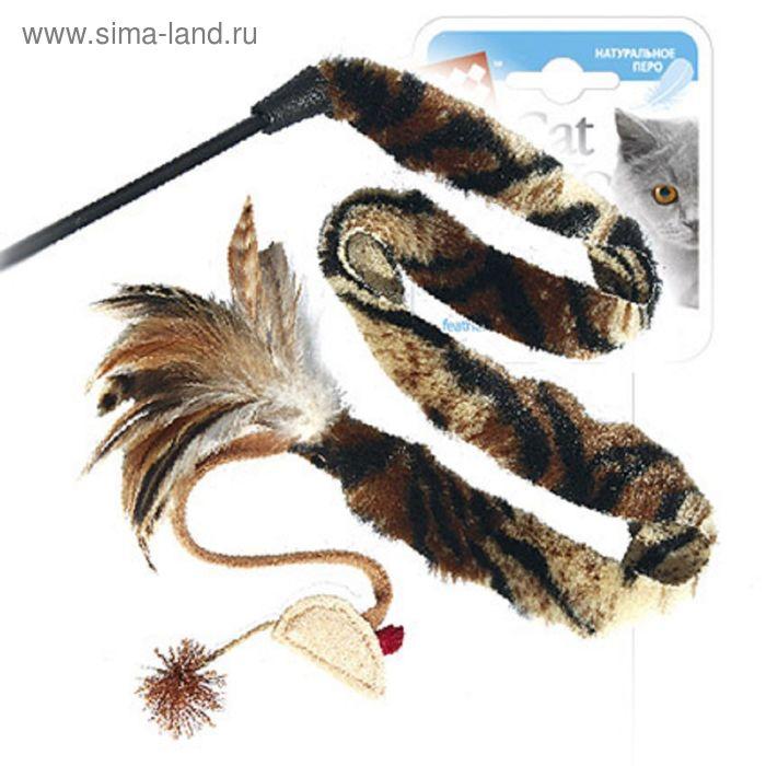 Дразнилка GiGwi для кошек, с длинным хвостом и перьями