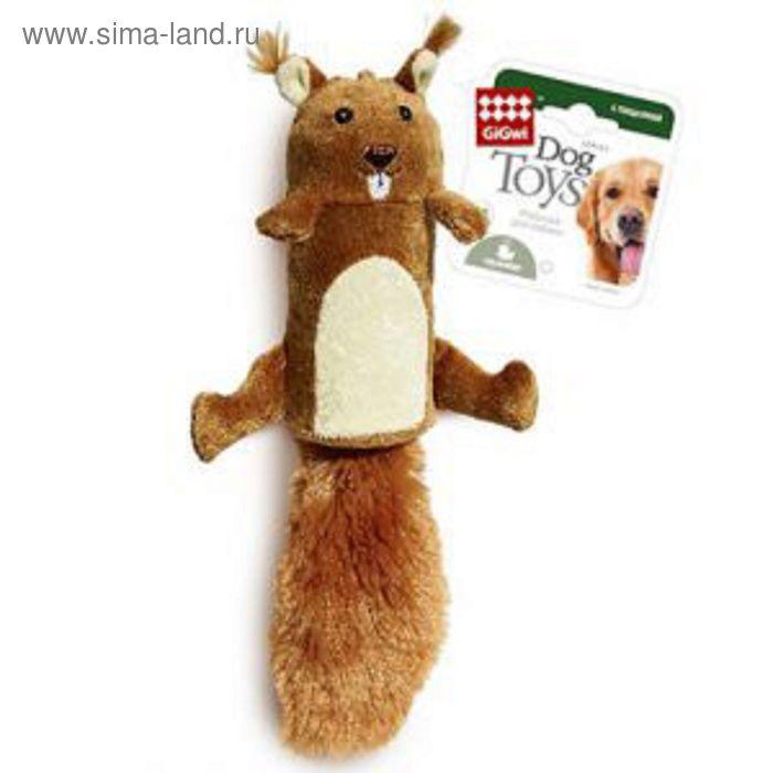 """Игрушка GiGwi """"Белка""""для собак, с большой пищалкой, 32 см"""