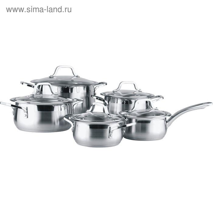 Набор посуды 5 пр: 4 кастрюли :1,7л, 2,4л, 3,3л, 6л, ковш 1,7л + крышки  Winner