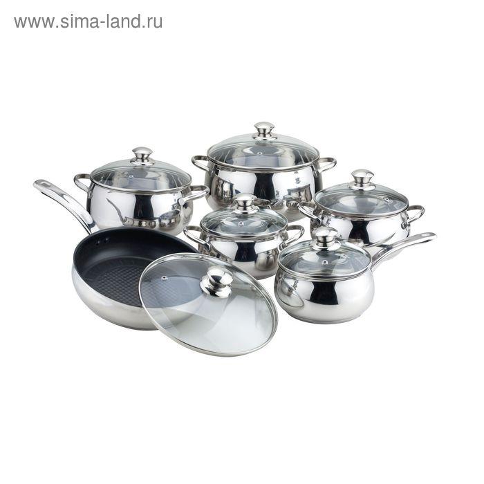 Набор посуды 6 пр: 4 кастрюли : 1.8 л, 2.5 л, 3.2 л, 5.6 л, ковш 1,8 л, сковорода+ крышки  Winner
