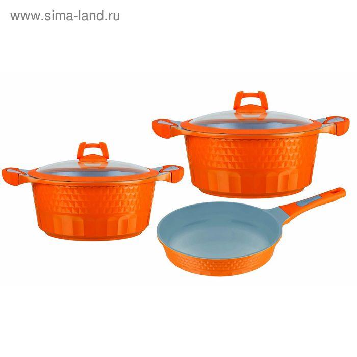 Набор посуды 3 пр: 2 кастрюли с крышками (2,4 л; 4,2 л.) и сковорода 19,5 см.  Winner
