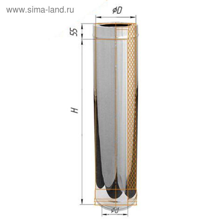 Дымоход Феррум утепленный 439/0,8мм, зеркальный, нержавеющий d 150/210, L=1м, по воде