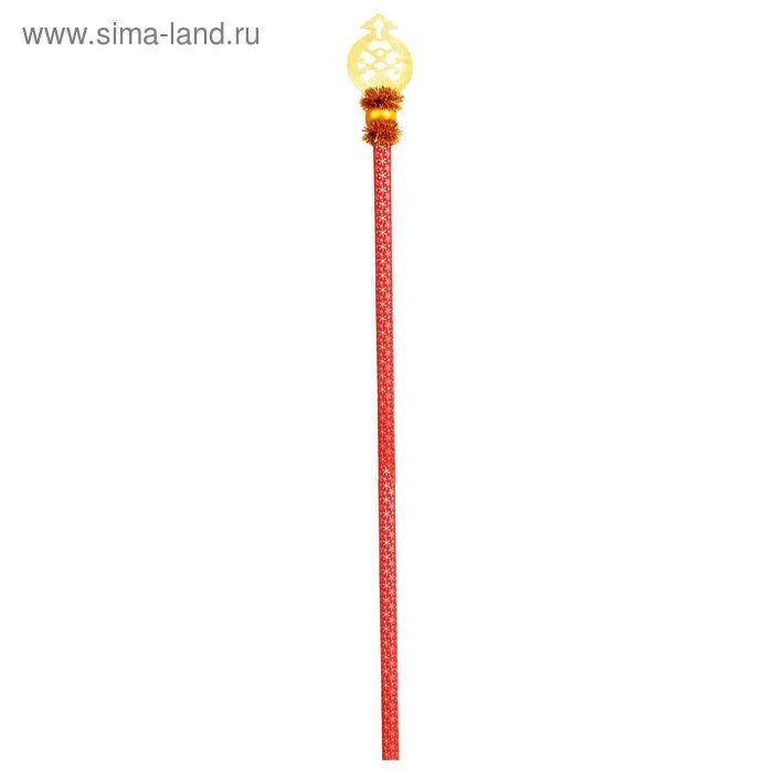 """Посох Деда Мороза """"Резной"""", длина 180 см, цвет красно-золотой"""
