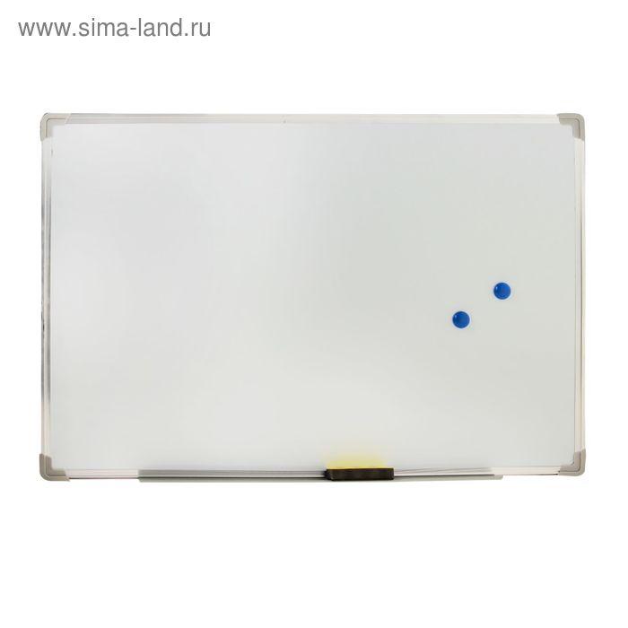 Доска магнитная60*90 см одност.с полоч. под маркер,оборот гофрокартон+губка и 2 магни УЦЕНКА