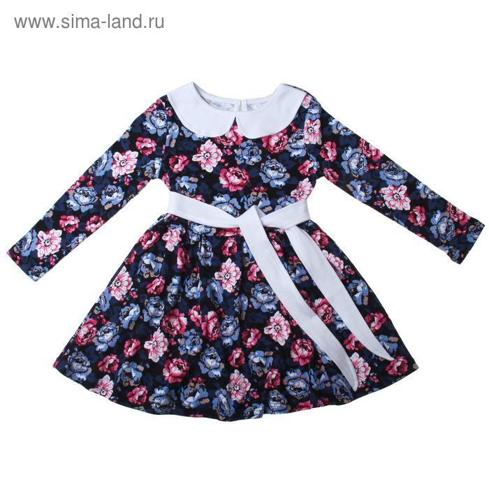 """Платье для девочки """"Осенний блюз"""", рост 116 см (60), цвет чёрный/белый, принт пионы (арт. ДПД854067н_Д)"""