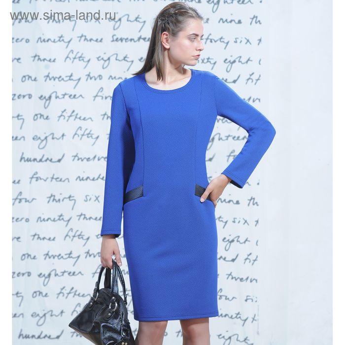 Платье 5229б С+, размер 50, рост 164 см, цвет синий/черный