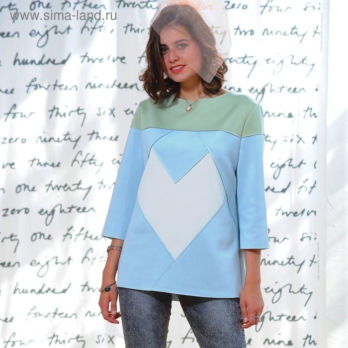 Свитшот 5160, размер 44, рост 164 см, цвет св.зеленый/голубой/молочный