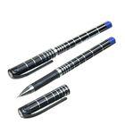 Ручка гелевая 0,5мм черная корпус черный с серебристым с рифленым держателем