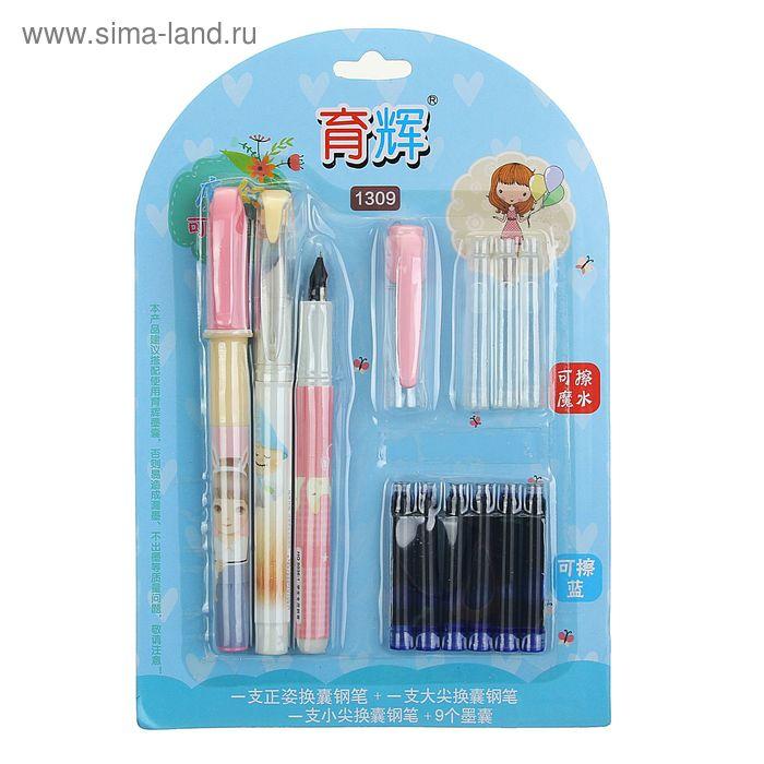 Ручки перьевые 2шт+6картриджей синих+стиратель+3картриджа бесцветных на блистере МИКС