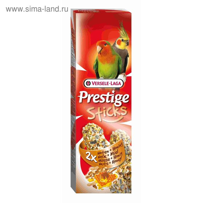 Палочки VERSELE-LAGA Prestige палочки для средних попугаев, с орехами и медом, 2х70 г