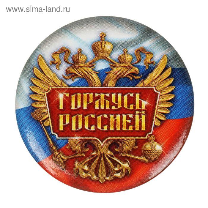 """Значок закатной """"Горжусь Россией"""", 3,5 х 3,5 см"""