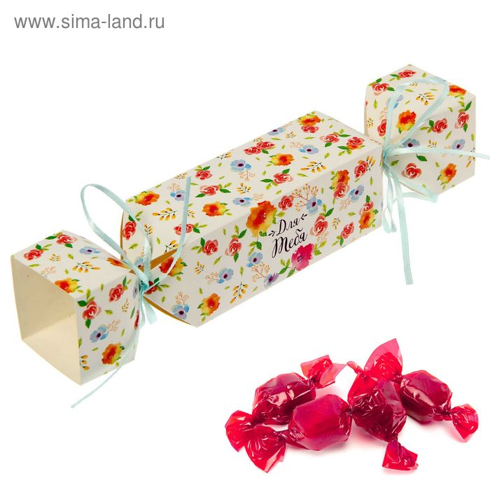 """Складная коробка-конфета """"Акварельные цветы"""", 12 х 5 см"""