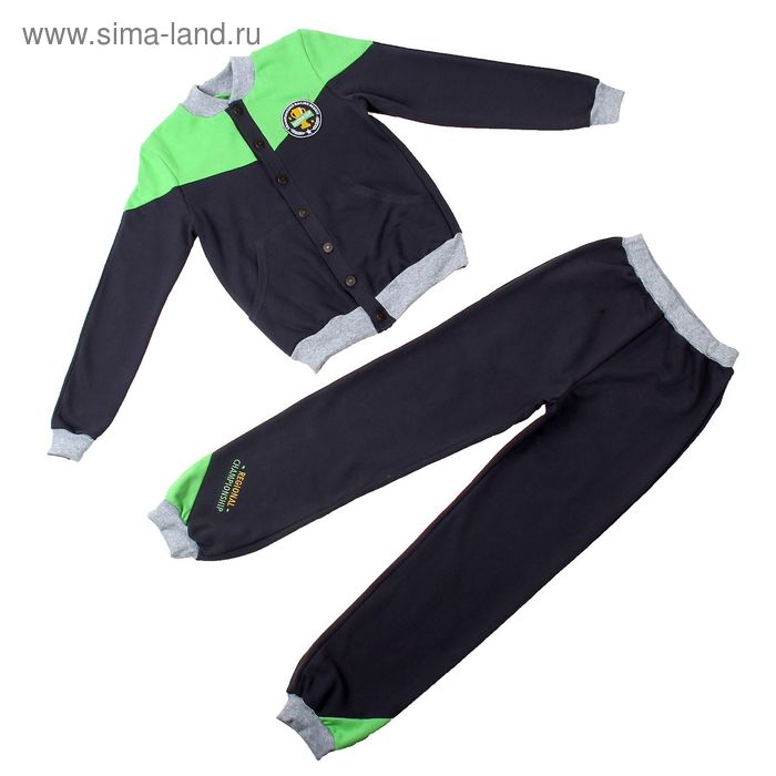 Комплект для мальчика, рост 140 см (72), цвет тёмно-серый/зелёное яблоко (арт. Д 15227-В_Д)