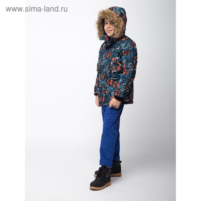 Куртка для мальчика, рост 140 см, принт, цвет серый (арт. М12-35_Д)