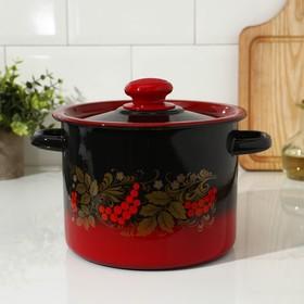 Кастрюля цилиндрическая 3.5 л, декор, цвет красно-чёрный
