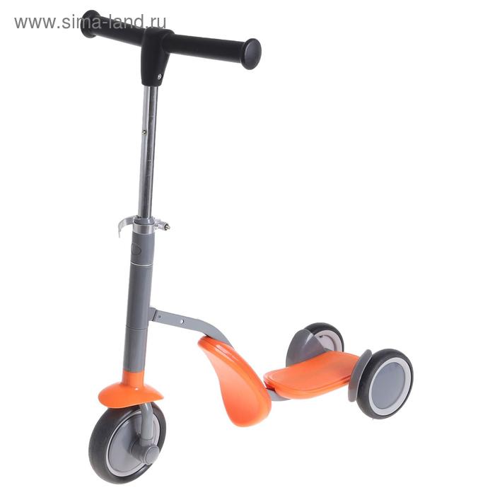 Самокат - каталка стальной S911, три колеса PU d= 150 мм, h= 60-77 см цвет оранжевый в пакете