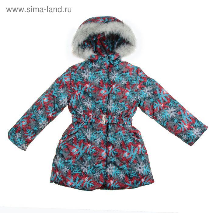 Пальто для девочки, рост 128 см, принт, цвет бирюзовый (арт. Д20-57_Д)