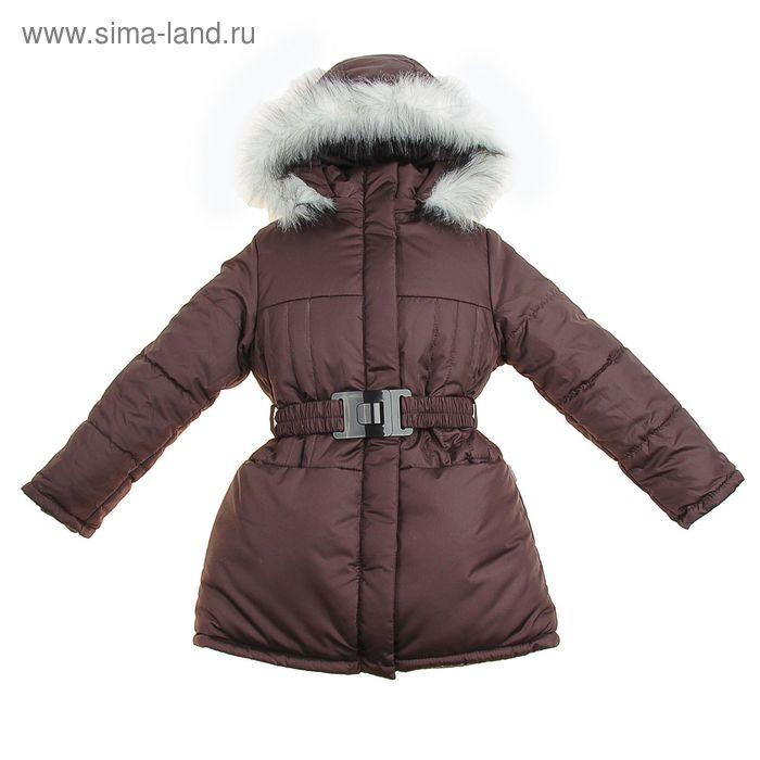 Пальто для девочки, рост 122 см, цвет шоколадный (арт. Д21- 2_Д)