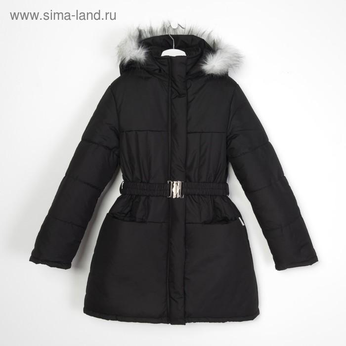 Пальто для девочки, рост 128 см, цвет чёрный (арт. Д21- 9_Д)