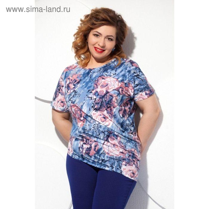 Блуза женская, размер 60, цвет синий+розовый Б-129/4