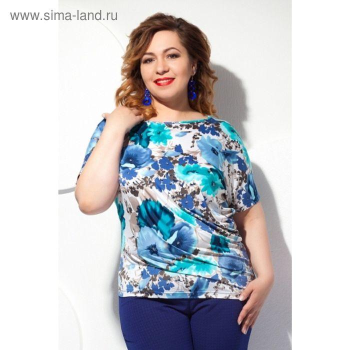 Блуза женская, размер 58, цвет белый+бирюза Б-129/5