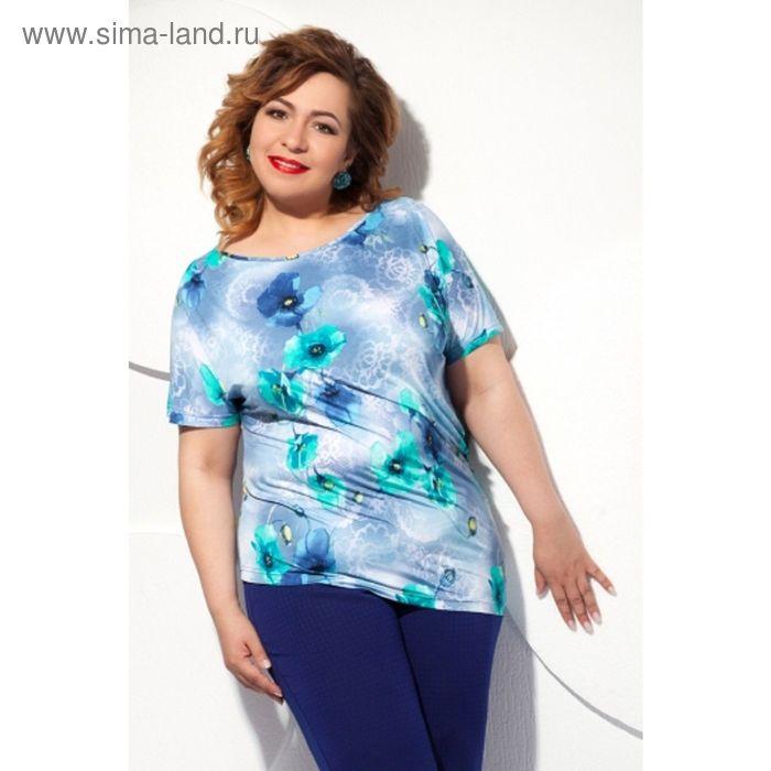 Блуза женская, размер 54, цвет голубой+бирюза Б-129/6