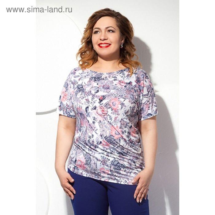 Блуза женская, размер 62, цвет белый+розовый Б-129/7