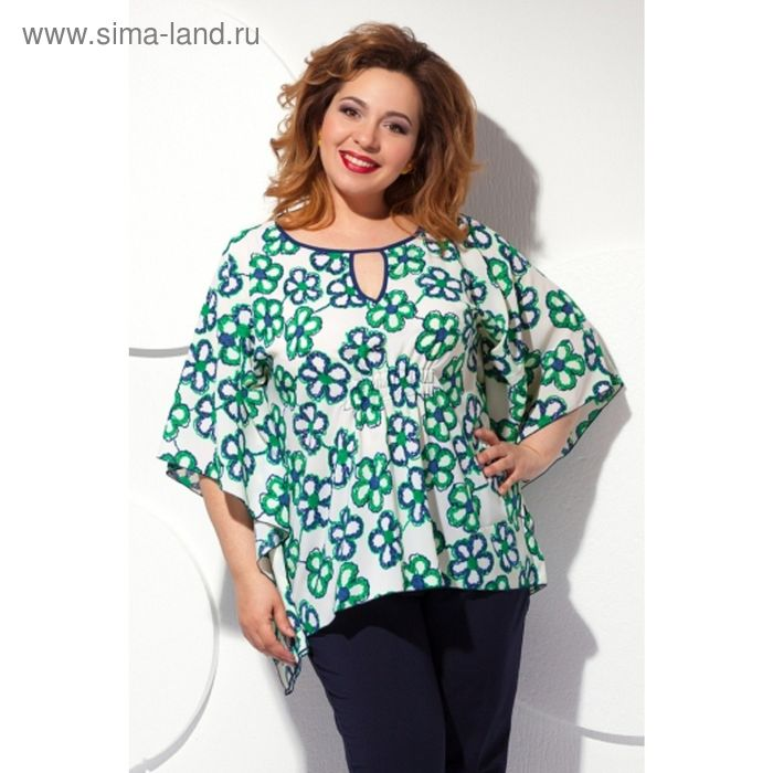Блуза женская, размер 52, цвет белый+зелёный+синий Б-130