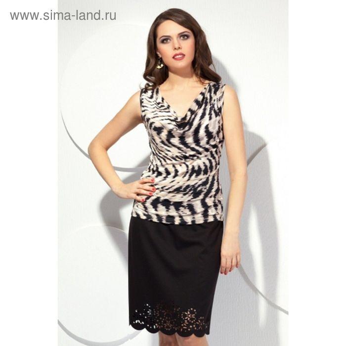 Блуза женская, размер 48, цвет чёрный+белый Б-136