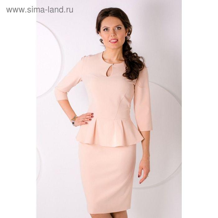 Платье женское, размер 50, цвет бежевый П-433/1