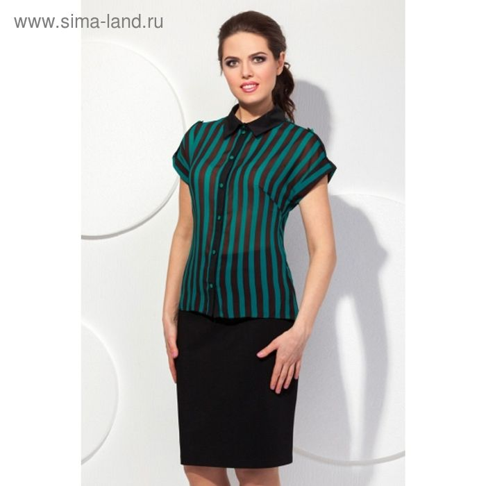 Блуза женская, размер 46, цвет изумрудный + чёрный Б-141/3